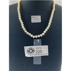 Vintage Real Pearl Necklace With .925 Clasp