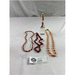 4 Pieces Of Red Coral And Pearl Jewelry