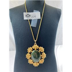 Very Large Jade Pendant And Necklace