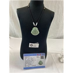 Carved Jade Pendant Necklace With COA