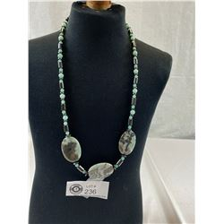 """Beautiful Hematite and Real Stone Necklace, Approx. 24""""L"""
