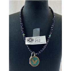 Navajo Necklace with .925 Eagle and Turquoise Pendant 8.4gr