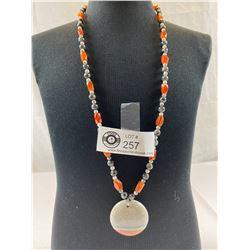 "Very Nice 24"" Necklace and Pendant with .925 Clasp. Carnelian,Howelite,Labradorite & Jasper Pendant"