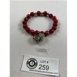 Nice Red Stone and Heart Expandable Bracelet Signed LH PL