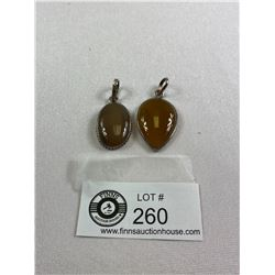 """Lot of 2 .925 and Agate Pendants.1.5"""" and1.75"""" Long"""