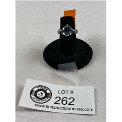 Beautiful .925 10mm Round Topaz and Cubic Zirconia Ring. Size 5