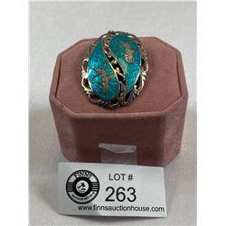 Lovely .925 Siam Blue Enamal Brooch/Pendant 13.2 gr