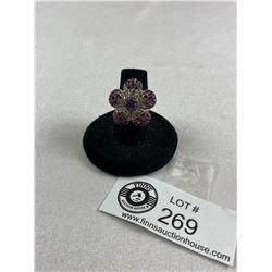 New .925 Cubic Zircona Flower Ring 10.3 Grams Size 6