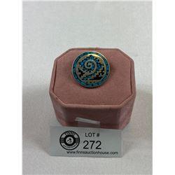 .Stunning 925 Turquoise & Onyx Brooch/Pendant 15.25 Grams
