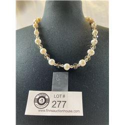 "Stunning Pearl & Smokey Quartz Swarovski Crystal Elements 18"" Necklace"