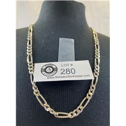 """Beautiful .925 Sterling 20"""" Figaro Necklace 6 mm 22.69 grams"""