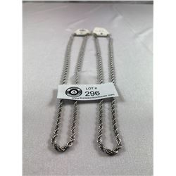 """Lot of 2 Rope Chain Necklaces Stainless Steel 20"""""""