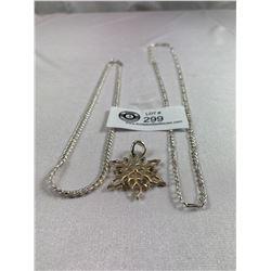 "2 Chain Necklaces Figaro 26"" Flat Link-18"" Plus Snowflake Pendant"