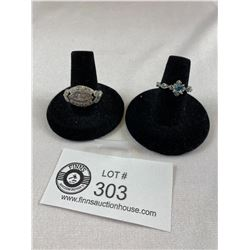 2 Beautiful Silver Plated Dinner Rings Blue Stone Ring sizw 6.75, other is Size 8