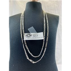 "2 Figaro Chain Silver Plated Necklaces 24"" and 26"""