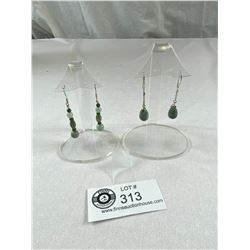 2 Pairs of Lovely Jade Dangle Earrings Marked .925