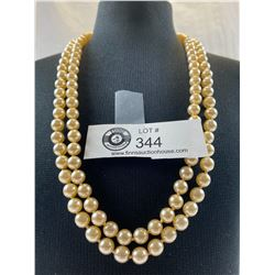Fabulous Large 2 Strand Faux Pearl 1940's Necklace
