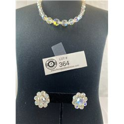 Quality 1950's Aurora Borealis Crystal Necklace with Earrings