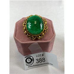 Very Nice 1950's Jade Look Brooch/ Pendant