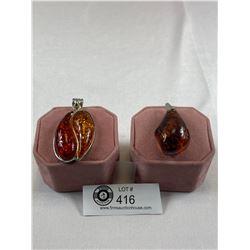 2 Nice Amber(?) Pendants. Large Size