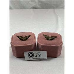 Pair of Antique Wing Shoe Clips Early 1900's Style