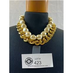 Massive Gold Plated and Faux Pearl Choker Necklace 1970's