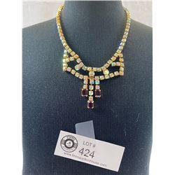 Nice Quality Vintage Aurora Borealis Necklace Circa 1950's