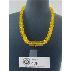 Fabulous Canary Yellow1930's-40's Crystal Necklace