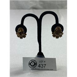 Pair of Signed Sherman Citrine Coloured Earrings