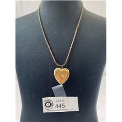 """Lovely Vintage Heart Locket on Chain Marked """" Sturdy Gold Filled"""""""
