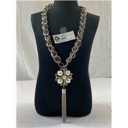 Very Fancy Heavy Faux Pearl & Rhinestone Necklace