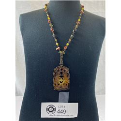 Unusual Chinese Stone/Jade Look Necklace