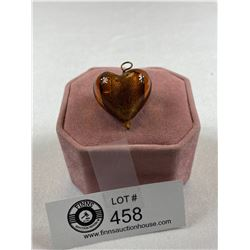 Large Amber Murano Glass Heart Pendant