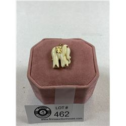 Superb 14k Gold Ivory and Ruby Pendant