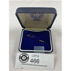 Hallmarked English Silver Wishbone Pin Original Box