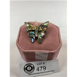 Superb Shell Inlaid Butterfly Brooch