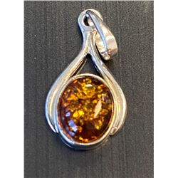 Sterling and Amber Drop Pendant