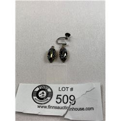 Good Pair of Sterling & Black Alaska Diamond Earrings 1950's
