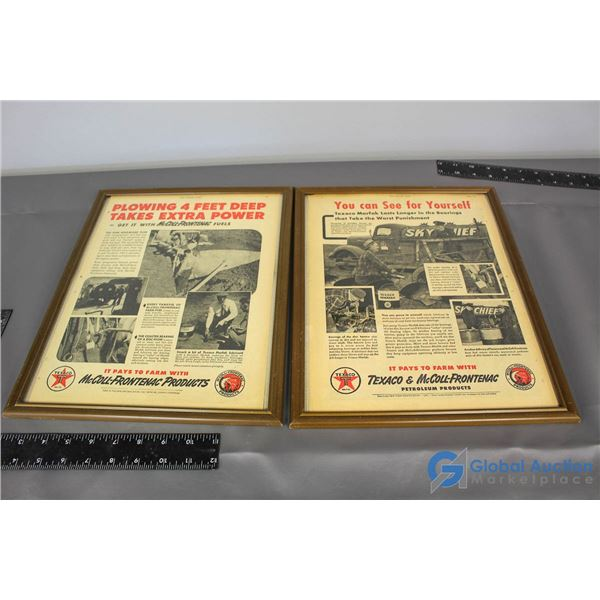 (2) Texaco Red Indian Framed Advertisment