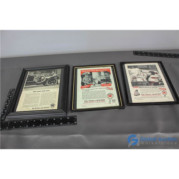 (3) Texaco Framed Advertisments