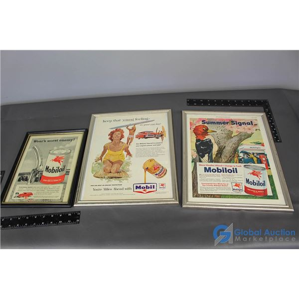 (3) Mobiloil Framed Advertisment