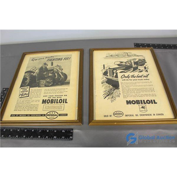(2) Mobiloil Imperial Framed Advertisments