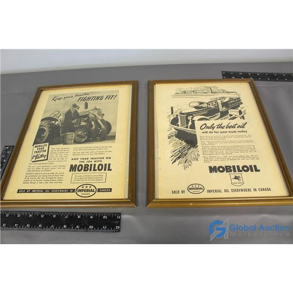 (2) Mobiloil Imperial Framed Advertisments