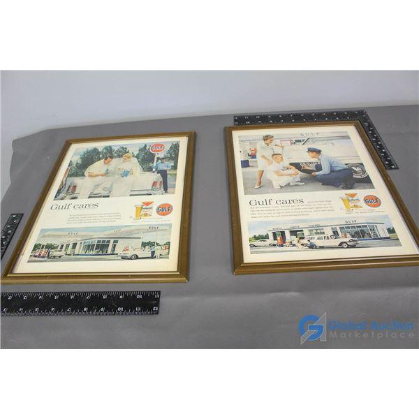 (2) Gulf Framed Advertisements