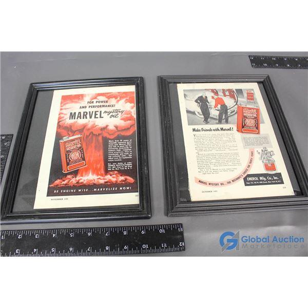 (2) Marvel Mystery Oil Framed Advertisements