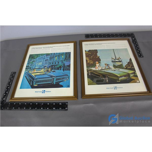 (2) Wide Track 1968 Pontiac Framed Advertisements