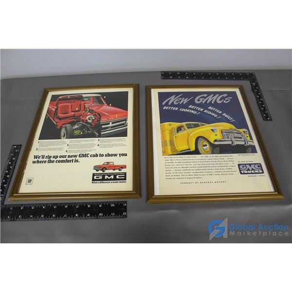 (2) GMC Trucks Framed Advertisements