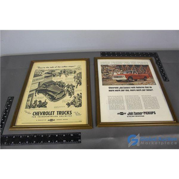 (2) Chevrolet Truck Framed Advertisements