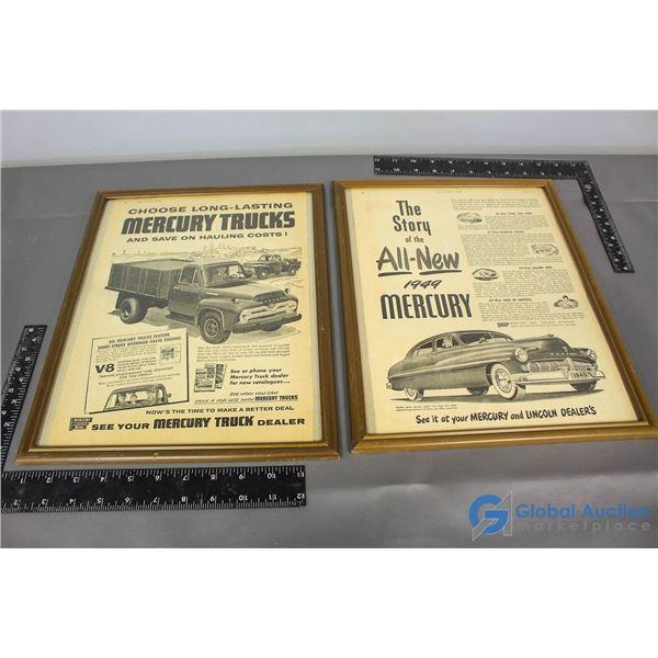 (2) Framed Mercury Dealer Advertisements
