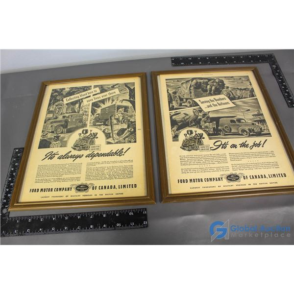 (2) Framed Ford Advertisements